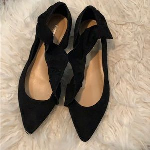 Express suede black pointed ruffled flats